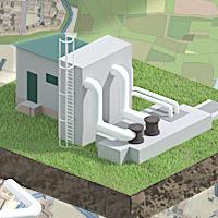 illustration isométrique 3d - Pictogrammes pour l'interface de gestion des eaux de la ville de Dax.