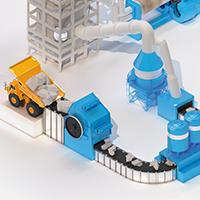 illustration isométrique - Le processus industriel de fabrication du ciment.