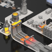 illustration isométrique - Les processus industriels de fabrication de l'acier.