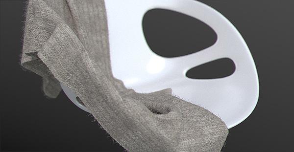 Simulation de textiles en 3d pour l'ameublement. Image filaire.