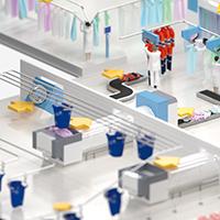illustration isométrique - Le pressing industriel, visuel 3d grand format.